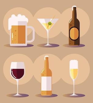 맥주 마티니 맥주 병 와인 글라스 음료와 아이콘을 설정