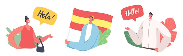 Set of icons with characters speak on spanish language. people with spain flag, teachers or students say hola or hello, chatting and communicate. espanol lesson education. cartoon vector illustration