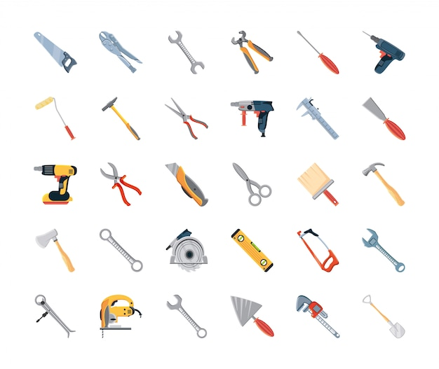 Set of icons with construction tools and carpentry