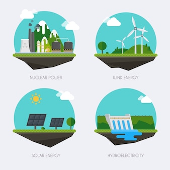 Set of icons with different types of electricity generation. landscape and industrial factory buildings concept. vector flat  infographic.