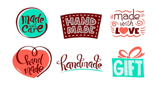 Set of icons with handmade lettering, made with love drawing elements, wrapped gift box symbol, clothe patch with strokes.