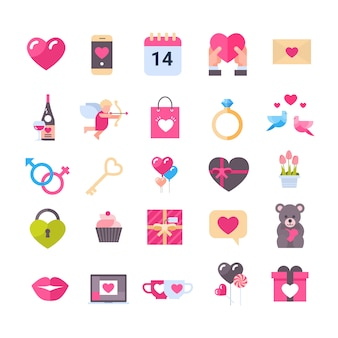 Set of icons with hearts valentines day holiday gifts greeting messages isolated romantic concept