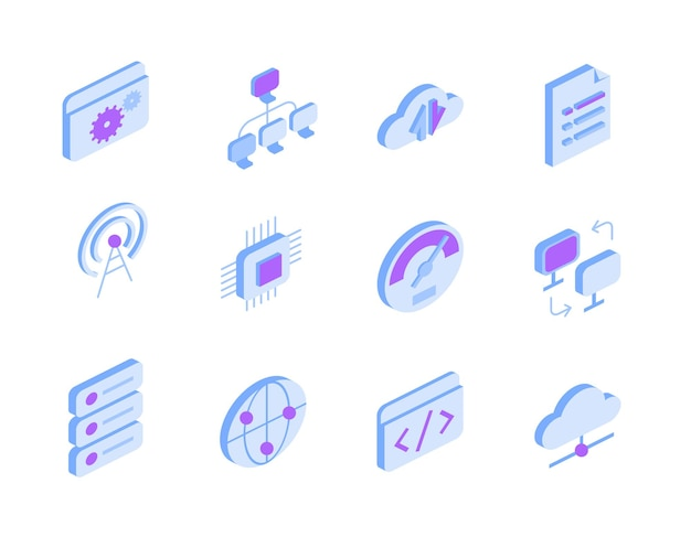Set of icons with internet and online services in isometric view. techno signs - global connection, cloud storage, data transfer, settings, documents, wifi access point, chip, coding symbols
