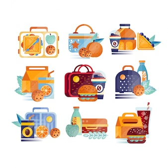 Set of icons with lunch boxes and bags with food and drinks. hamburgers, sandwiches, cookies, juice, coffee, fruits. lunchtime or breakfast concept.