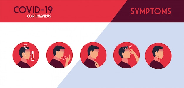 Set of icons with symptoms of coronavirus