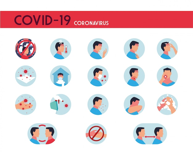 Set of icons with symptoms, prevention and transmission of coronavirus