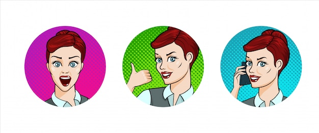 Set of icons with young woman smiling, surprised, thumb up, talking by the phone.