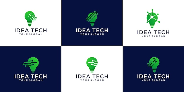 Set of idea tech , bulb tech logo