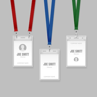 Set of identification cards on red blue and green lanyards illustration of name tag holder end badge templates for director on gray background
