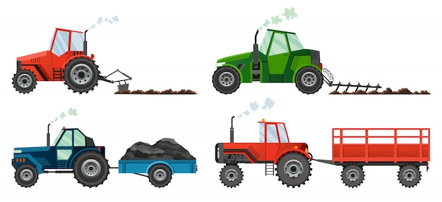 Установите, если сельскохозяйственные тракторы возделывают землю или перевозят прицеп. тяжелая сельскохозяйственная техника для полевых работ транспорта для фермы в плоском стиле.