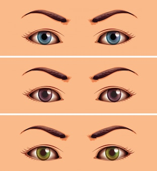 Set if human close up eyes area