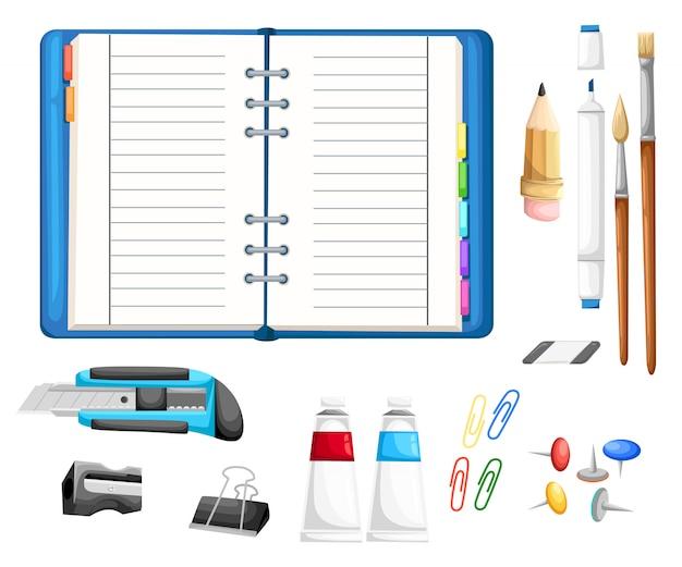 Установите, если канцелярские товары с блокнотом. резак, карандаш, кисти, клей, ластик, маркер, точилка, кнопки и скрепки иллюстрация в мультяшном стиле на белом фоне