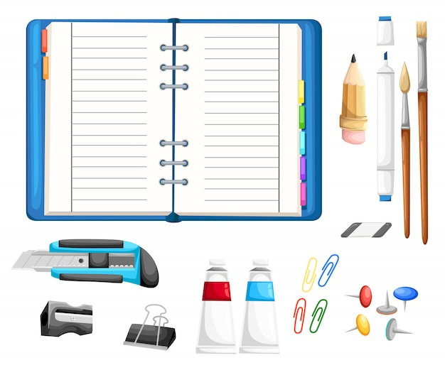 Set if stationery with notepad. cutter, pencil, brushes, glue, eraser, marker, sharpener, buttons and paper clips cartoon style   illustration  on white background