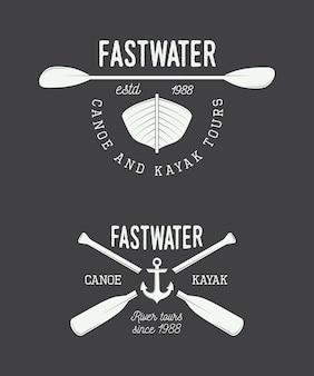 Set if vintage rafting logo