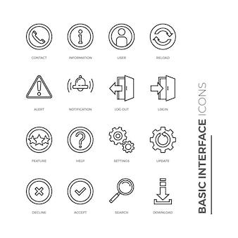 Set ikon garis terkait antarmuka dasar terkait