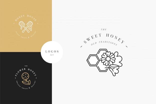 Установить иллюстрированные логотипы и шаблоны дизайна или значки. органические и экологические мед этикетки и метки с пчелами. линейный стиль и золотистый цвет.