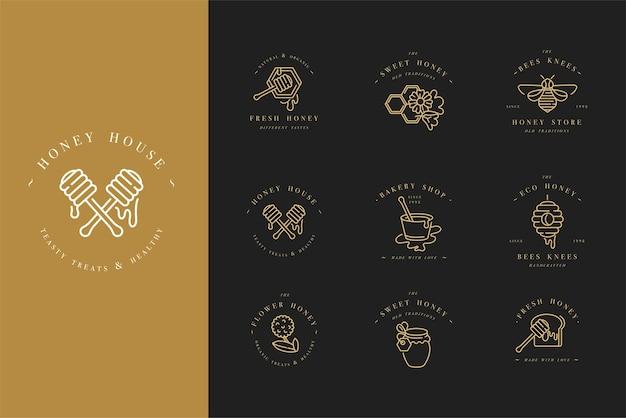 Set illustartion logos and design templates or badges