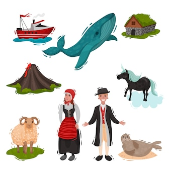 Set of illustrated attractions scandinavian countries.  on white background.