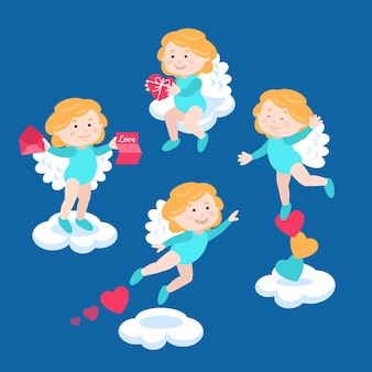 Set of illustrated cupid character