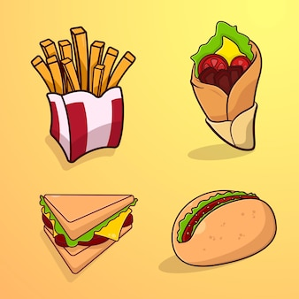 Set of illustrated fast food with cartoon style