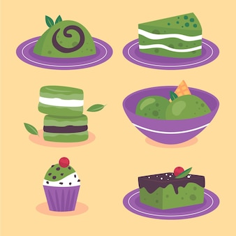 Set of illustrated matcha desserts