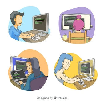 Set of illustrated programmers working