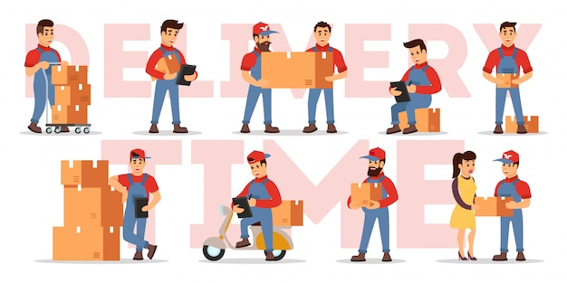 Set illustrating highlights of delivery services: counting price, checking order, transportation parcels with movers, loaders, motor scooter, cart, courier to client. cartoon  on white.