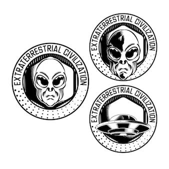 Set illustration of alien badge emblem head for logo badge design vector element
