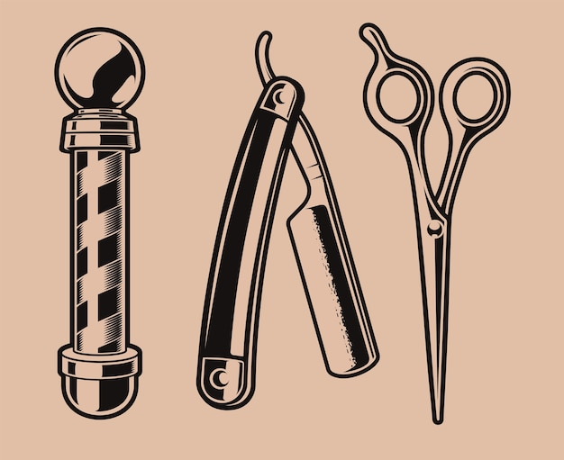 Set of  illustration of  barber pole, scissors, and a razor blade.