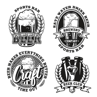 Set illustration of beer on white background. the elements and text of each logo are in separate groups. ideal for printing on fabric and various sports and beer bar decorations