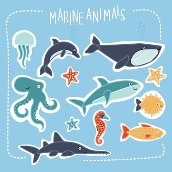 Set of illustration of cartoon funny cute sea creatures with smiling muzzle