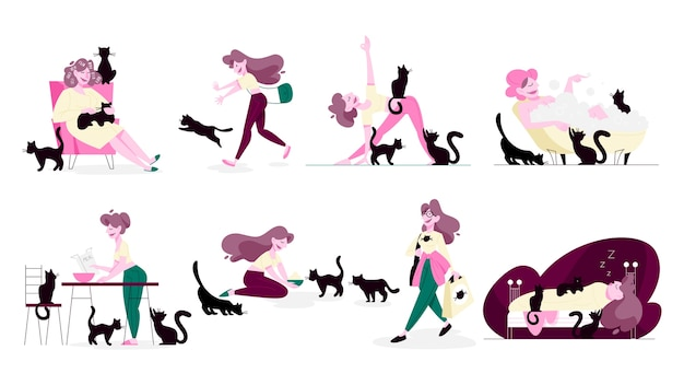 Set of   illustration of cat lover doing her daily routine being surrounded by pets. funny female character with her cats, cat owner life.