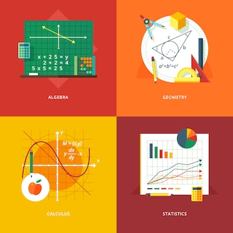 Set of   illustration concepts for algebra, geometry, calculus, statistics.  education and knowledge ideas. mathematic science.  concepts for web banner and promotional material.