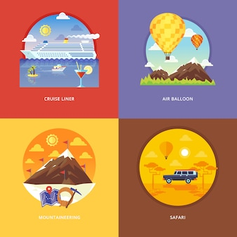 Set of   illustration concepts for cruise liner, air balloon, mountaineering, african safari. recreation, holiday trip, tourism, traveling. concepts for web banner and promotional material.