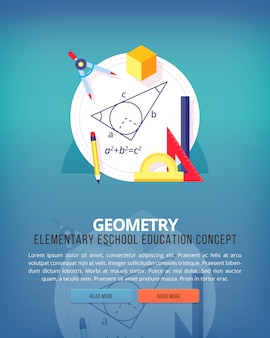 Set of   illustration concepts for geometry education and knowledge ideas. mathematic science. concepts for web banner and promotional material.