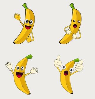 Set illustration cute banana fruit