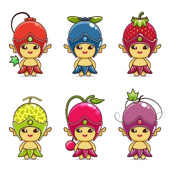 Set illustration of cute fruit mascot redcurrant blueberry strawberry melon cherry grape