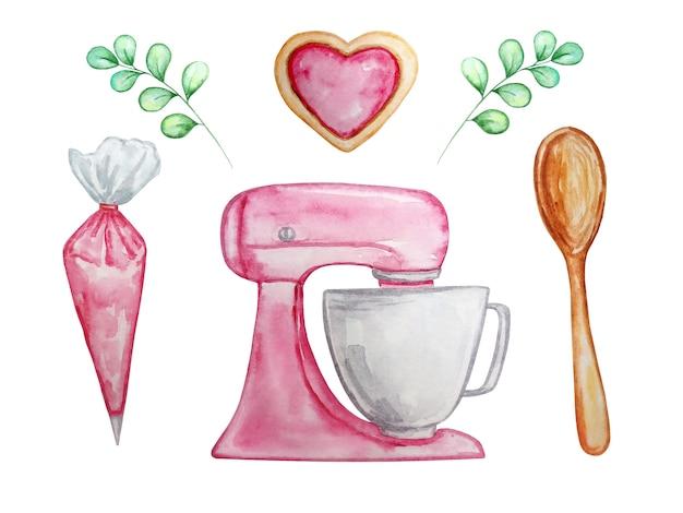 キッチンと料理のイラストを設定