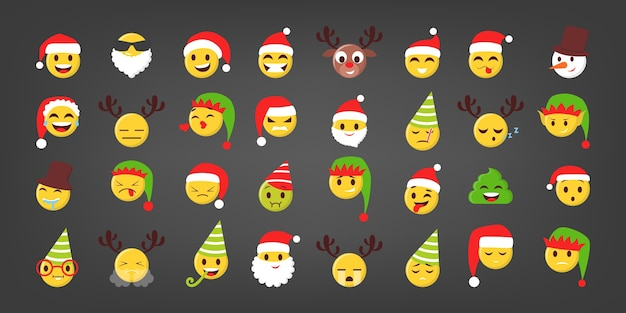 Set of  illustration of funny christmas emoji. festive face with hats and xmas element. esolated emoticon for online chat