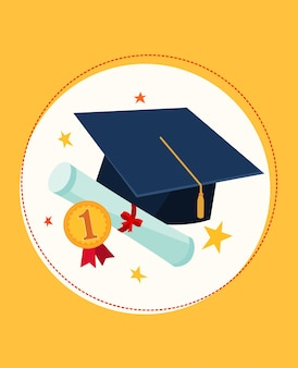 Set illustration of graduation cap and awards