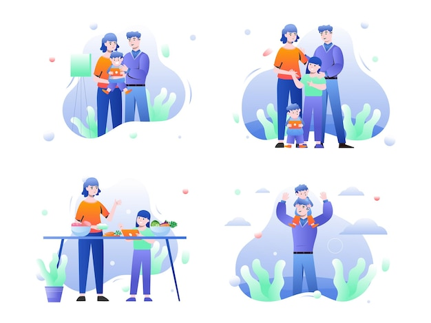 Set illustration graphic of family with a family happiness goals Premium Vector
