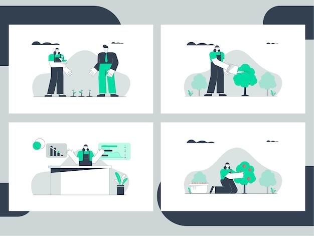 Установить графический рисунок фермера с фермерским бизнесом