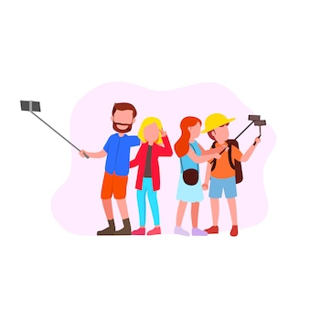 Set illustration of group selfie
