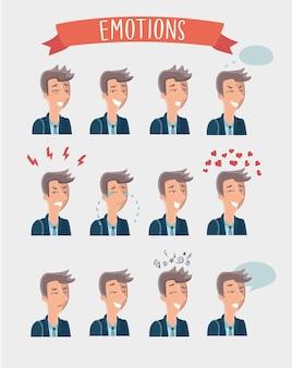 Set illustration of handsome cartoon man emotions portraits