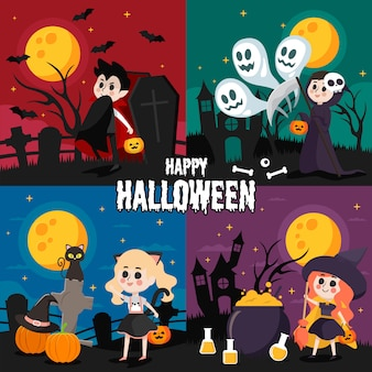 Set of illustration of happy halloween night with cute dracula, reaper, cat girl and wizard