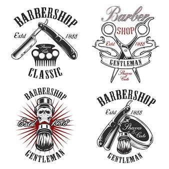 Установите иллюстрацию в винтажном стиле для парикмахерской с черепом, бритвой, ножницами