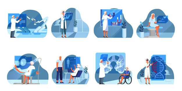 Set of  illustration of innovative healthcare. concept of modern medicine treatment, expertize, diagnostic. virtual environment in hospital. an idea of clinic innovation