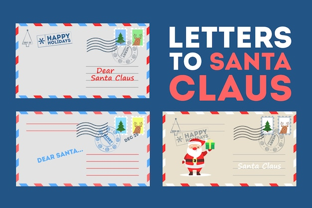 Set of  illustration of letters to santa claus with cute traditional christmas decoration. vinage letter envelope with stamp, festive postage element.