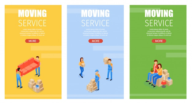 Set illustration moving service banner template