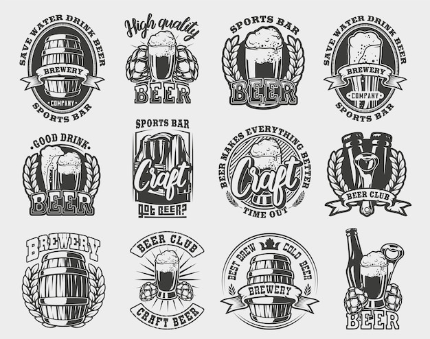 Установите иллюстрацию пива на белом фоне.
